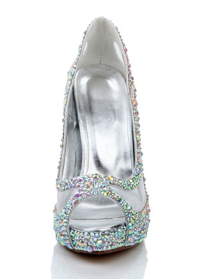 Sheepskin Diamant Netz Satin Peep Toe High Heels