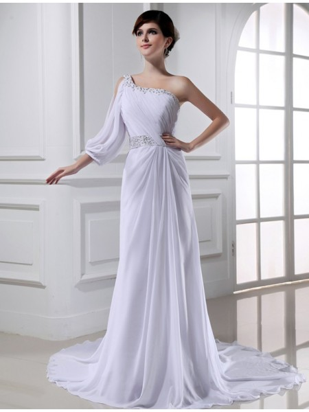A-Linie/Princess-Linie Perlen verziert One-shoulder One-sleeve Chiffon Brautkleider