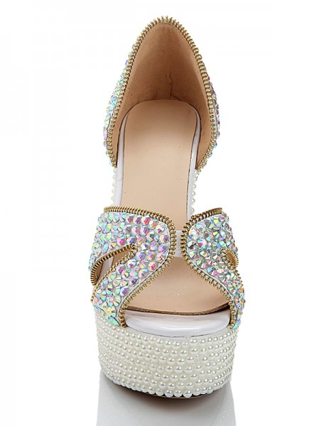 Patent Leder Perlen Diamant Sandals High Heels