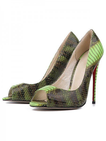 Damen Snake Print PU Peep Toe Stiletto Heel High Heels
