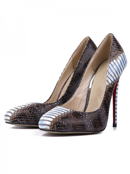 Damen Snake Print PU Round Toe Stiletto Heel High Heels