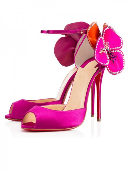 Damen Satin Peep Toe mit Blume Stiletto Heel High Heels