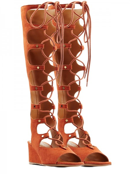 Damen Wedge Heel Peep Toe Suede Mit Spitze-up Sandal Knee High Orange Stiefel