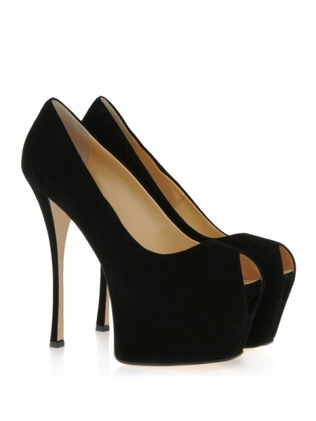 Damen Suede Stiletto Heel Peep Toe Platform High Heels